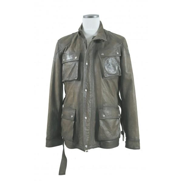 "EIGHT Leather Jacket mod. ""Steve Mc Queen tri..."