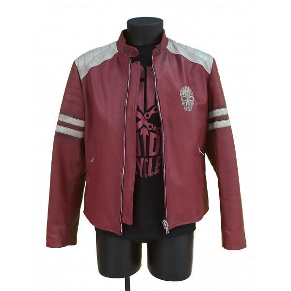 """EIGHT Leather Jacket mod. """"Biker Red & Wh..."""
