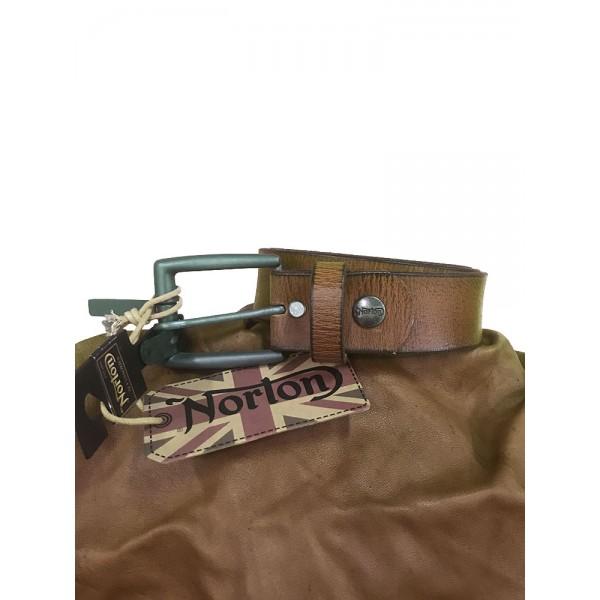 NORTON Cintura in cuoio marrone