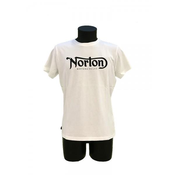 T-SHIRT NORTON BIANCA SCRITTA NERA GRANDE